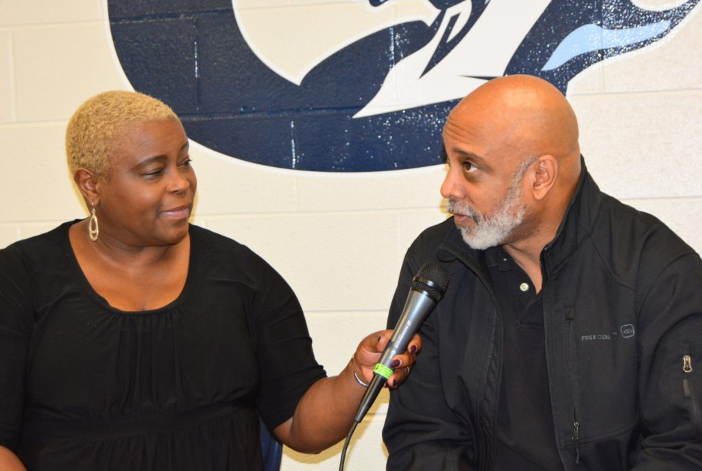 SHOWAbility Board Chair Twanda Black interviews Entertainment Industry executive Terry Moorer (who has cerebral palsy) at the Disability Awareness Career Day.