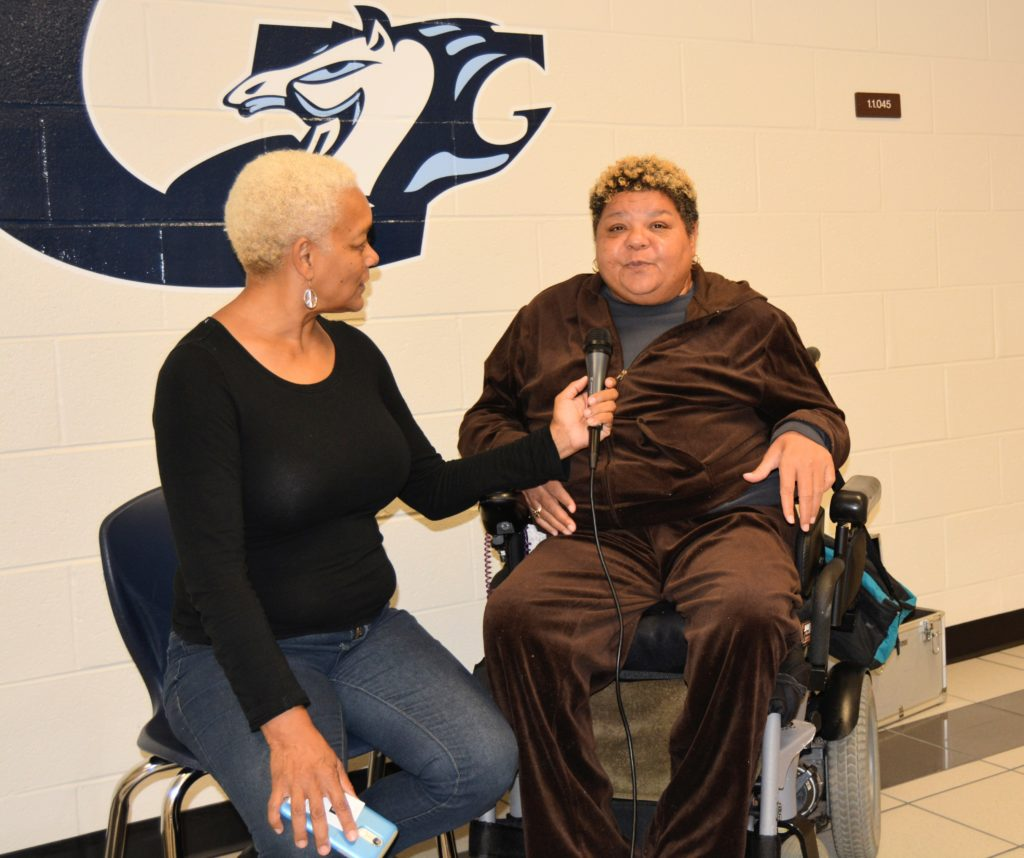 SHOWAbility Executive Director Myrna Clayton interviews Board member, Christy Priester, about her career at the Disability Awareness Career Day Actor.