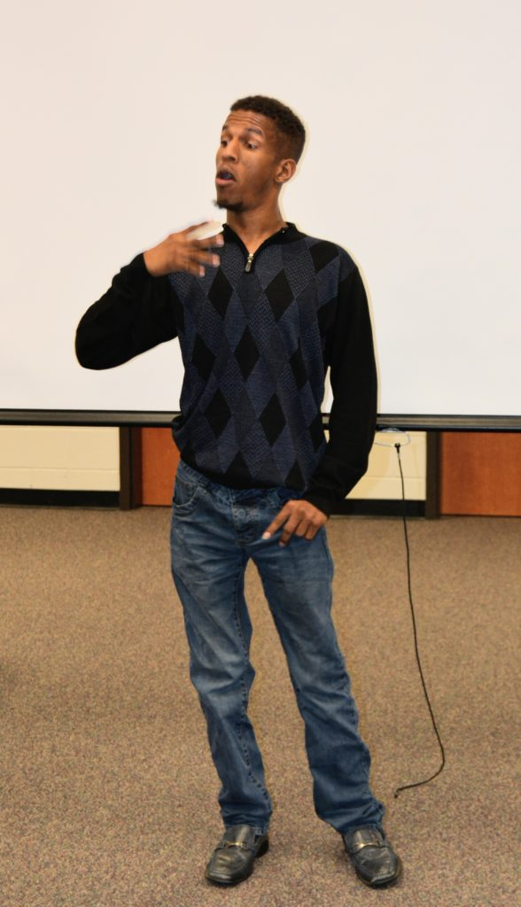 Photo of comedian/motivational speaker with cerebral palsy, Mr. MiraKool at the Disability Awareness Career Day Actor.