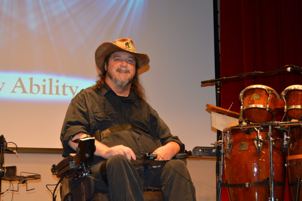 Rusty Taylor, Jazz singer and wheelchair user poses for photo.