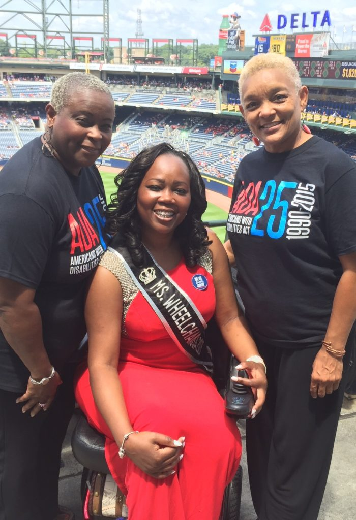 Mrs. Wheelchair International, Yvette Peguese, pictured with SHOWAbility Executive Director Myrna Clayton and SHOWAbility Board Chair, Twanda Black.
