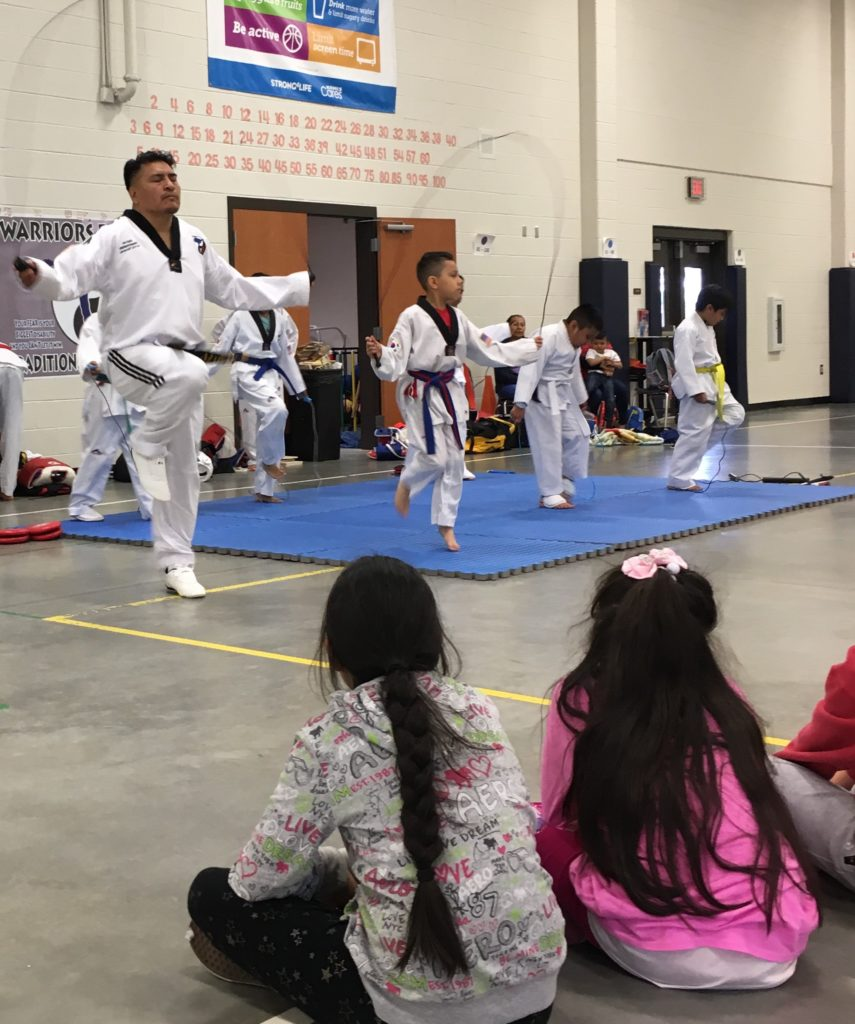 Blind Taekwondo instructor and his students showcase their skills at the Disability Awareness Career Day.
