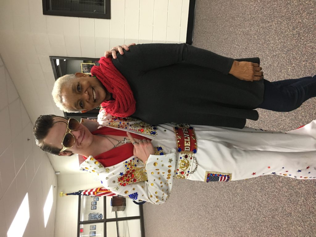 DELVIS (teen singer and Elvis Entity) in a photo with SHOWAbility Executive Director Myrna Clayton at the Disability Awareness Career Day.