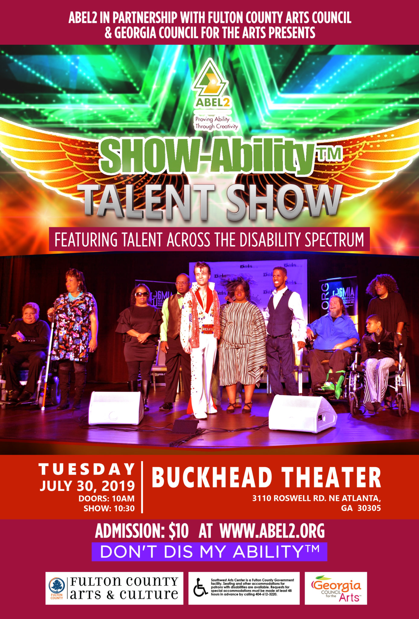 Past Event - SHOWAbility Talent Show 2019 at Buckhead Theater Flyer.
