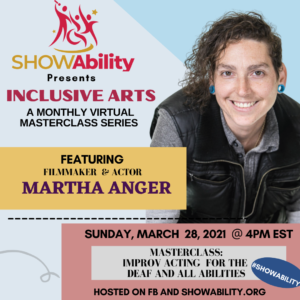 improv actor Martha Anger on flyer announcing March event